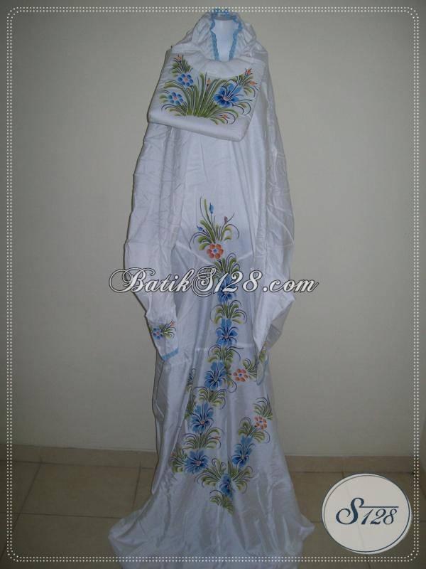Mukena Terusan Batik Lukis Bahan Rayon Santung, Harga Murah Grosir Eceran, Asli Solo [MTF501-Biru]