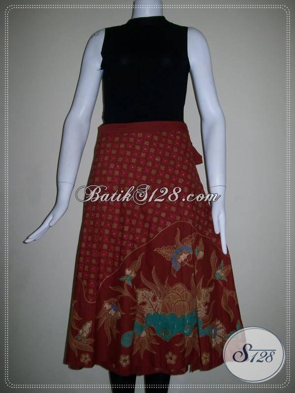Rok Batik Tulis Warna Merah,Rok Batik Merah Untuk Imlek,Rok Batik Elegan Dan Modern [R011T]