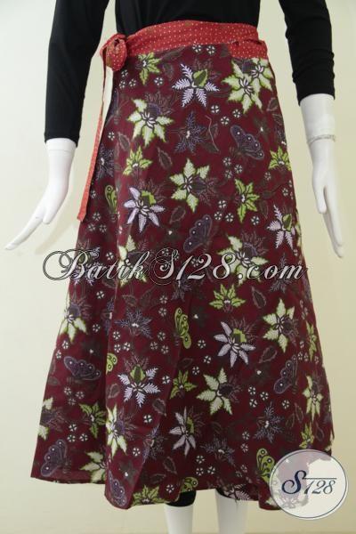 Rok Batik Warna Merah Marun Motif Kupu Dan Bunga, Eksklusif, Elegan [R055P]