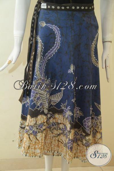 Rok Batik Tulis Biru Kombinasi Cream Motif Keren, Bawahan Batik Model Terbaru Cocok Untuk Wanita Muda Dan Remaja Putri [R3418T-All Size]