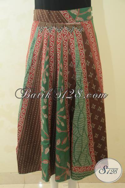Rok Batik Model Panjang Berbahan Halus Proses Printing, Rok Batik Modern Desain Yang Banyak Di Sukai Kawula Muda, Size L