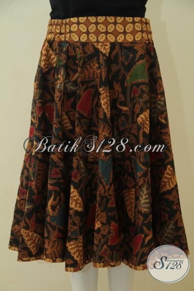Toko Busana Batik Jual Rok Batik Kombinasi Tulis Furing Tricot Model Terbaru Dengan Karet Dan Resleting [R3563BTF-All Size]