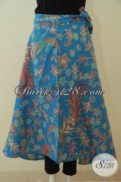 Sedia Baju Batik Bawahan Buat Cewek, Rok Batik Warna Biru Model Lilit Motif Keren Proses Printing Harga 100 Ribuan