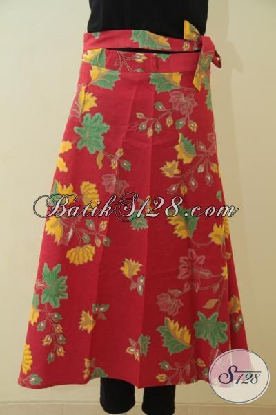 Produk Terbaru Rok Batik Lilit Bahan Halus Warna Merah Motif Bunga Proses Printing, Baju Batik Santai Kwalitas Mewah Harga Murah