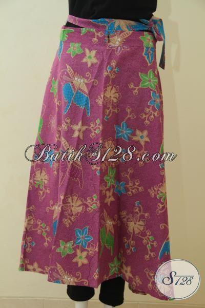 Sedia Rok Batik Ungu Motif Bunga, Berbahan Halus Dan Adem Model Lilit Proses Printing, Bisa Buat Kerja Dan Jalan-Jalan