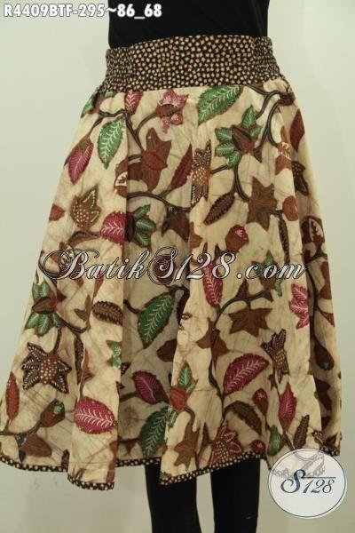 Rok Batik Modis Desain Terbaru Dengan Resleting Belakang Dan Karet Pinggang Kanan Kiri, Baju Batik Kombinasi Tulis Motif Trendy Untuk Tampil Lebih Gaya [R4409BTF-All Size]