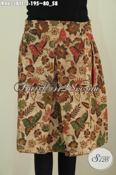 Jual Online Rok Klok Mini Berbahan Batik Modern Motif Kupu Proses  Kombinasi Tulis Pake Furing, Bawahan Batik Modis Kwalitas Istimewa Untuk Penampilan Makin Modis Dan Trendy [R4633BTF-All Size]