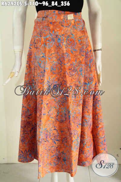Rok Batik Orange, Busana Batik Bawahan Untuk Wanita Muda Masa Kini Tampil Trendy Dan Cantik Mempesona Proses Cap Smoke [R6292CS-All Size]