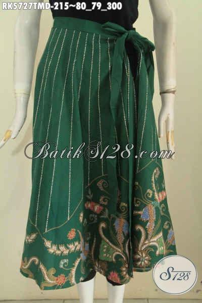 Agen Baju Batik Online, Sedia Rok Batik Hijau Model Bagus Bahan Halus Proses Tulis Harga 215K, Cocok Buat Hangout [RK5727TMD-Midi (Sedang)]