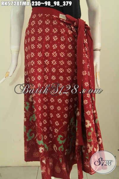 Busana Batik Model Rok, Baju Batik Bawahan Warna Merah Kwalitas Istimewa Model Trendy Bikin Wanita Terlihat Anggun Mempesona [RK5728TMX-Maxi (Besar)]