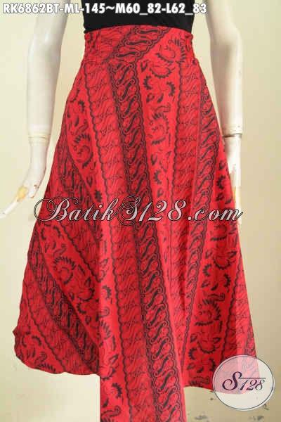 Baju Batik Bawahan Wanita, Rok Batik Model Klok Pakai Karet Pinggan Modis Dan Nyaman Di Pakai Warna Monokrom Motif Kombinasi Tulis [RK6862BT-L]