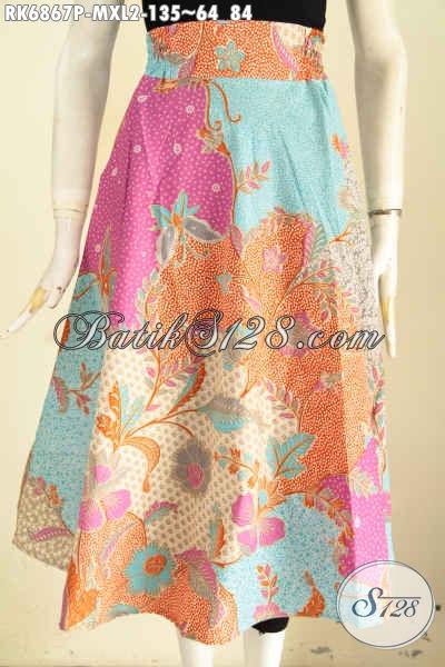 Rok Batik Printing Motif Bagus Dan Keren Model Klok, Baju Batik Bawahan Wanita Terkini Modis Untuk Jalan-Jalan [RK6867P-XL2]