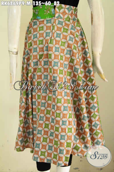 Rok Klok Batik Warna Hijau Motif Bagus Proses Printing Modis Buat Santai, Baju Bawahan Batik Pake Karet Pinggang Dan Resleting Asli Buatan Solo [RK6869P-M]