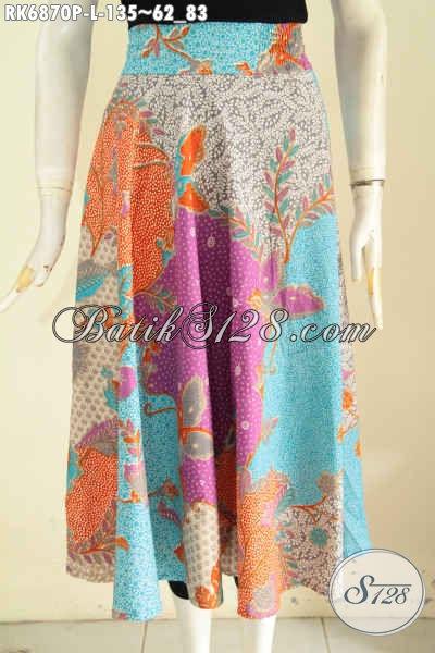 Rok Batik Solo Modern Model Resleting Belakang, Baju Batik Bawahan Wanita Masa Kini Untuk Penampilan Lebih Menarik, Size L