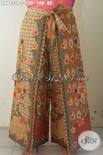 Celana Batik Model Kulot Busana Bawahan Wanita Desain Layer Motif