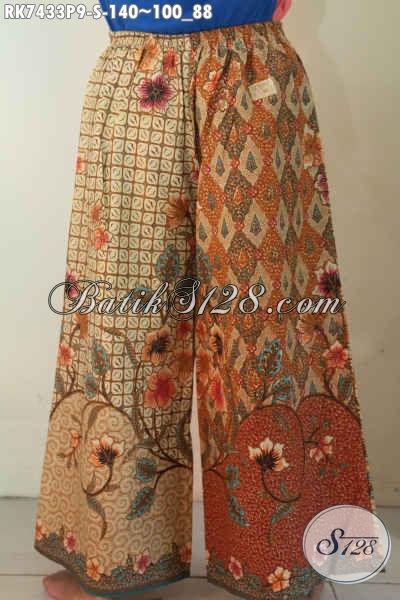 Celana Batik Model Kulot, Busana Bawahan Wanita Desain Layer Motif Klasik Printing, Tampil Trendy Dan Modern 140K [RK7433P-S]