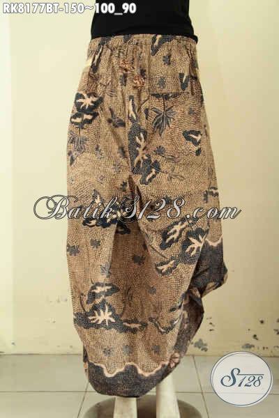 Model Rok Batik Aladin Keren Untuk Jalan-Jalan, Batik Rok Kekinian Dengan Kantong 2 Serta Di Lengkapi Karet Pinggang Dan Tali Bermotif Klasik Kombinasi Tulis Harga 150K [RK8177BT-All Size]