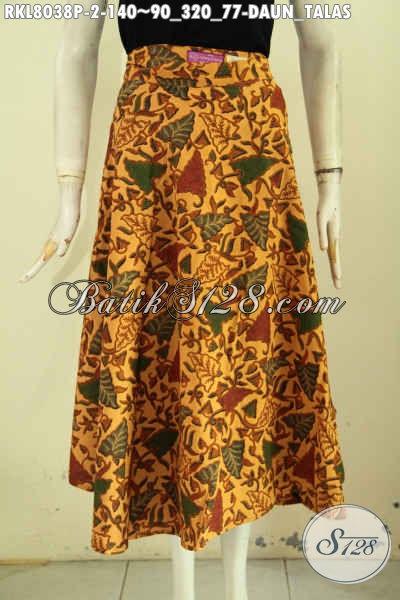 Koleksi Terkini Rok Batik Wanita Motif Daun Talas, Busana Batik Bawahan Buat Cewek Nan Elegan Model Kekinian, Tampil Cantik Dan Feminim [RKL8038P-All Size]