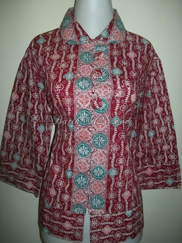 Jual Blus Batik Cerah Warna Batik Pekalongan, Motif Batik Solo [BLS013-L]