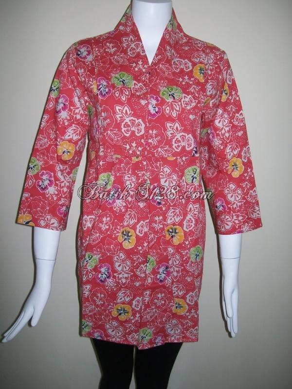 Baju Batik Warna Merah Salem Asli Batik Solo Berkwalitas