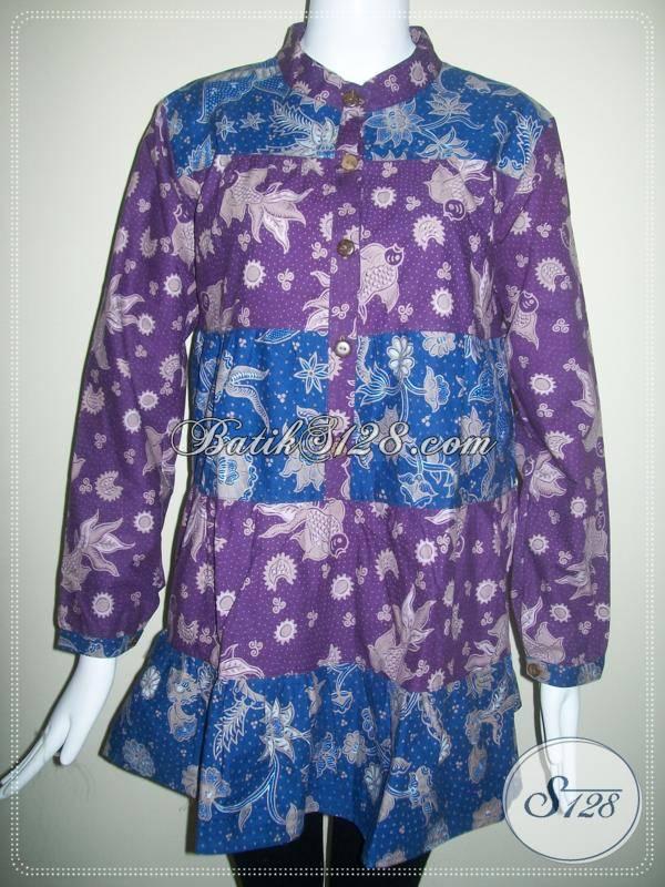 Blus Batik Muslim 2 Warna Ungu Dan Biru, Lengan Panjang [BLS075BT]