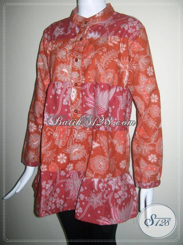 Blus Batik Murah Semi Tulis Modern, Lengan Panjang Krah Shanghai [BLS077BT-XL]
