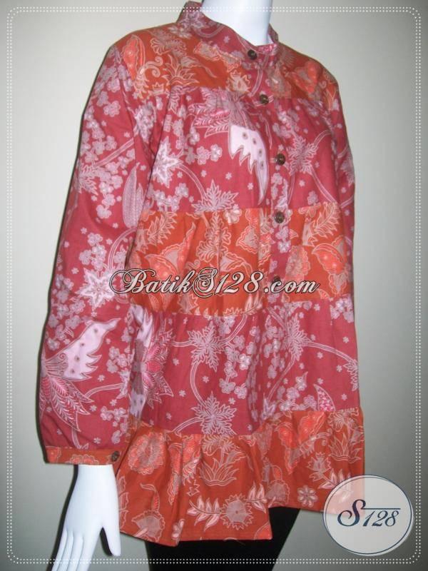 Blus Batik Kerja Wanita Cantik Modern, Blus Batik Murah [BLS079BT-M]