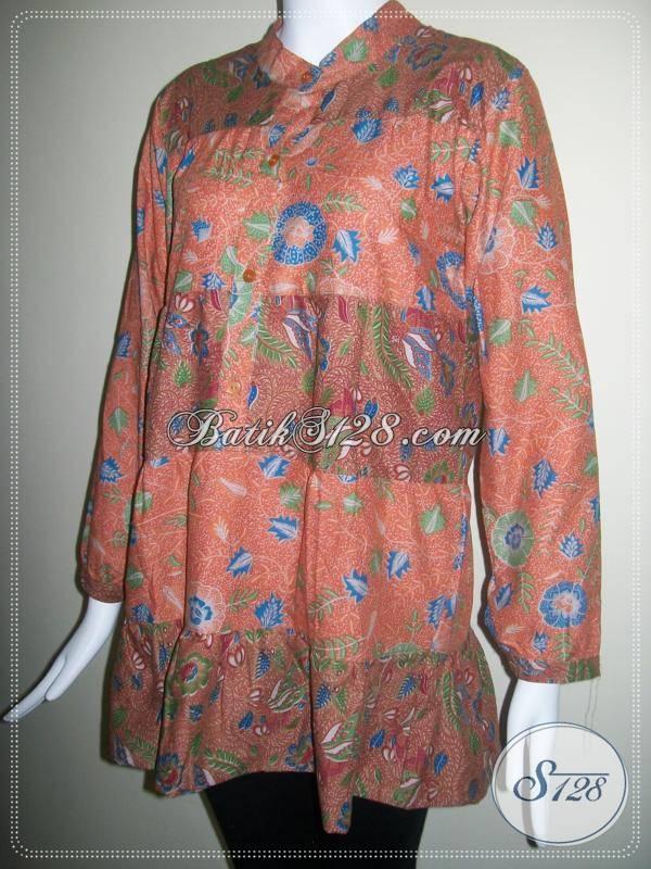 Model Blus Batik Wanita Muslim, Lengan Panjang Ukuran XL [BLS080P]
