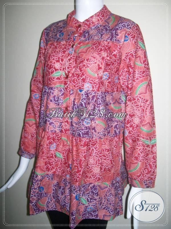 Jual Blus Batik Lengan Panjang Online, Murah Harga 80Ribuan [BLS081P]