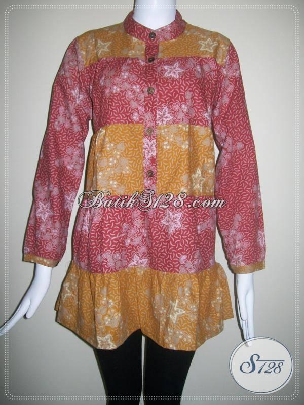 Model Blouse Batik Wanita, Batik Semi Tulis, Lengan Panjang, Modis, Trendy [BLS088BT]