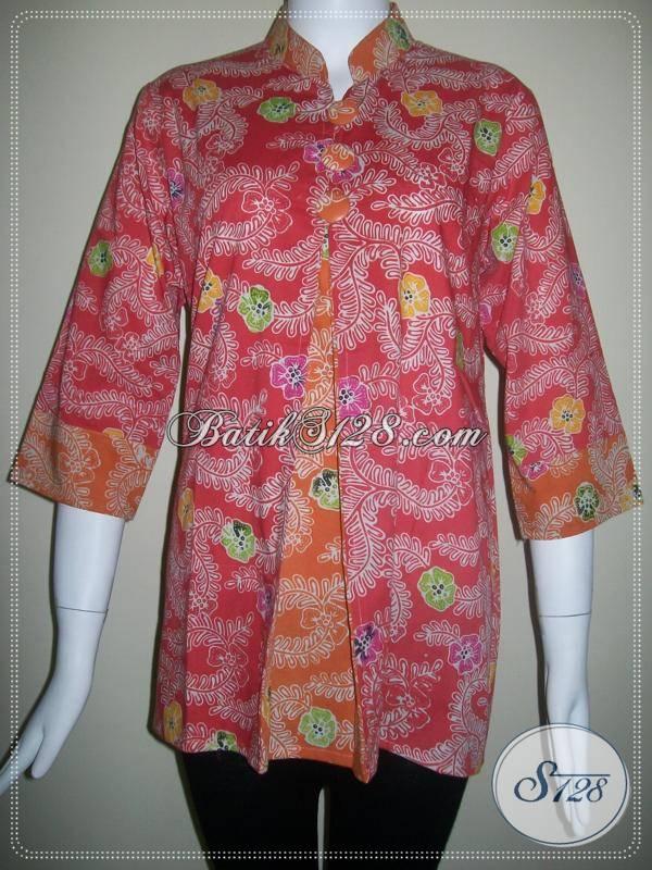 Harga Murah Untuk Baju Batik Cap Kombinasi Colet Warna Pink Dan Orange [BLS092]