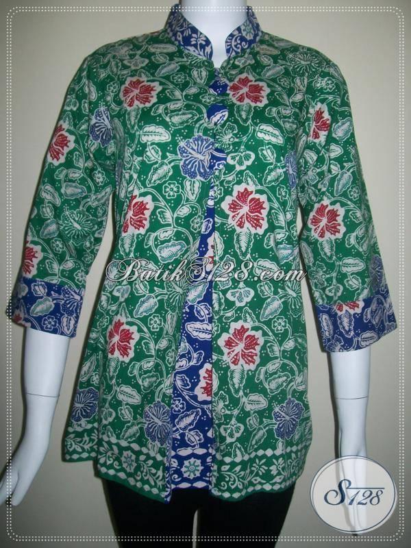 Busana Batik Cantik Dengan Model Pias Di Bagian Depan Dan Batik Dua Warna [BLS094]