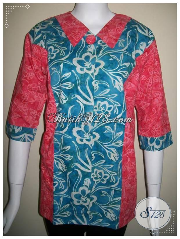 Busana BAtik Kerja Untuk Wanita Modern,Elegant Dan Trendy,Paduan Warna Merah Dan Biru [BLS146]