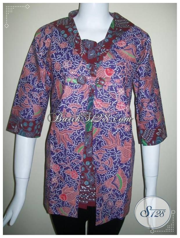 Baju BAtik Blus Lengan Tiga Perempat Bagi Wanita Karir [BLS163]