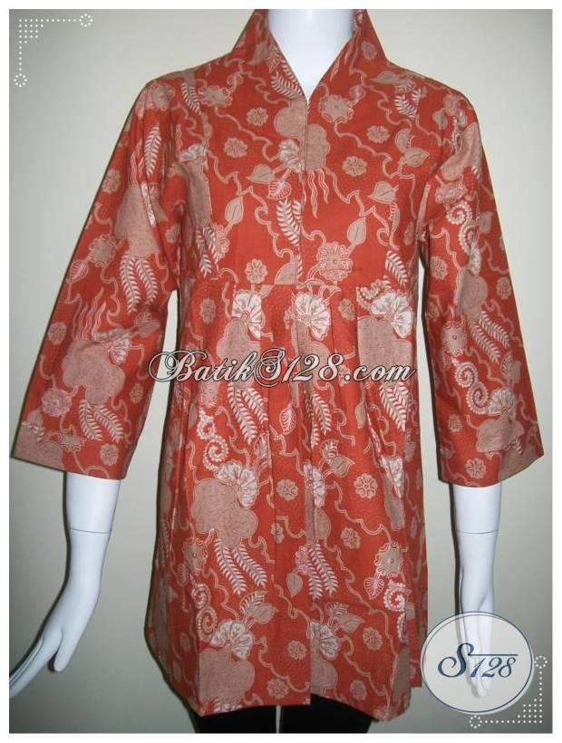 Trend Baju Batik Kota Solo Batik Semi Tulis Warna Orange