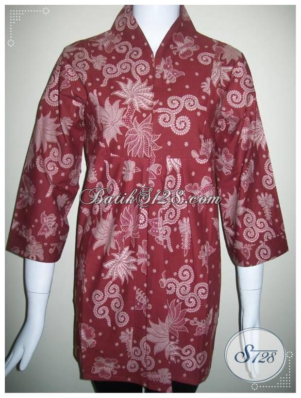 Baju Batik Semi Resmi Untuk Wanita Trendy,Batik Semi Tulis Warna Merah [BLS174]
