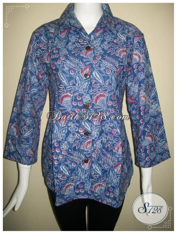 Baju Batik Kantor Warna Biru Bls221 Toko Batik Online 2018
