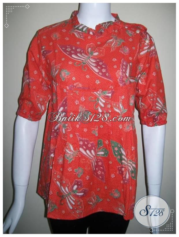 Baju Batik Motif Kupu Warna Cerah Dan Trendy [BLS232-M]