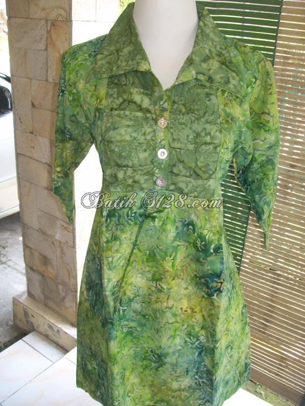 Jual Blus Wanita Lengan Tiga Perempat,Blus Batik Murah,Berkaret Belakang [C34011]