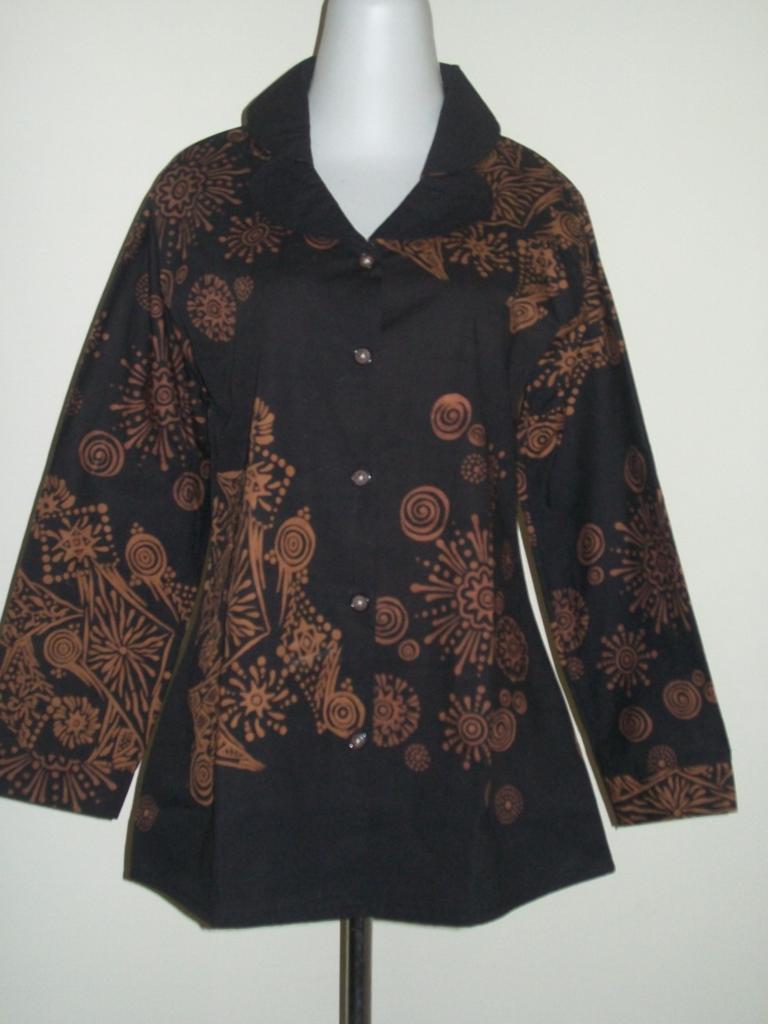 Blus Batik Kerja Lengan Panjang Model Modern Bahan Katun Halus [CP017]