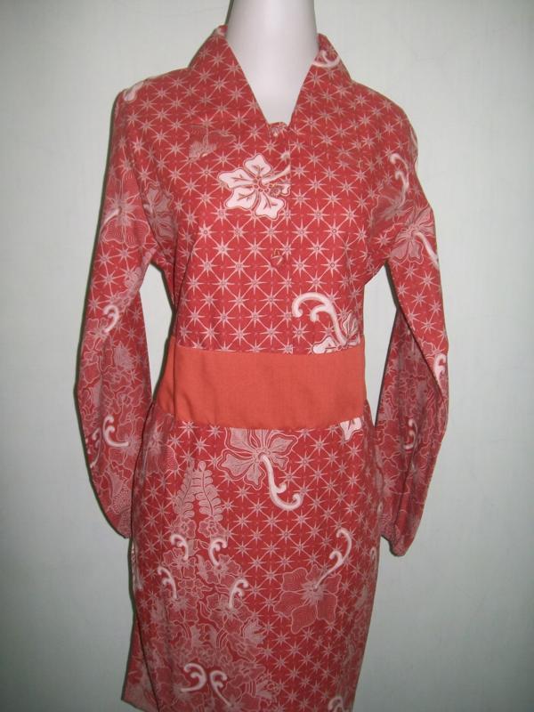 Blus Batik Cap Lengan Panjang Berkaret Bagian Belakang Harga Terjangkau Bahan Katun [CP038]
