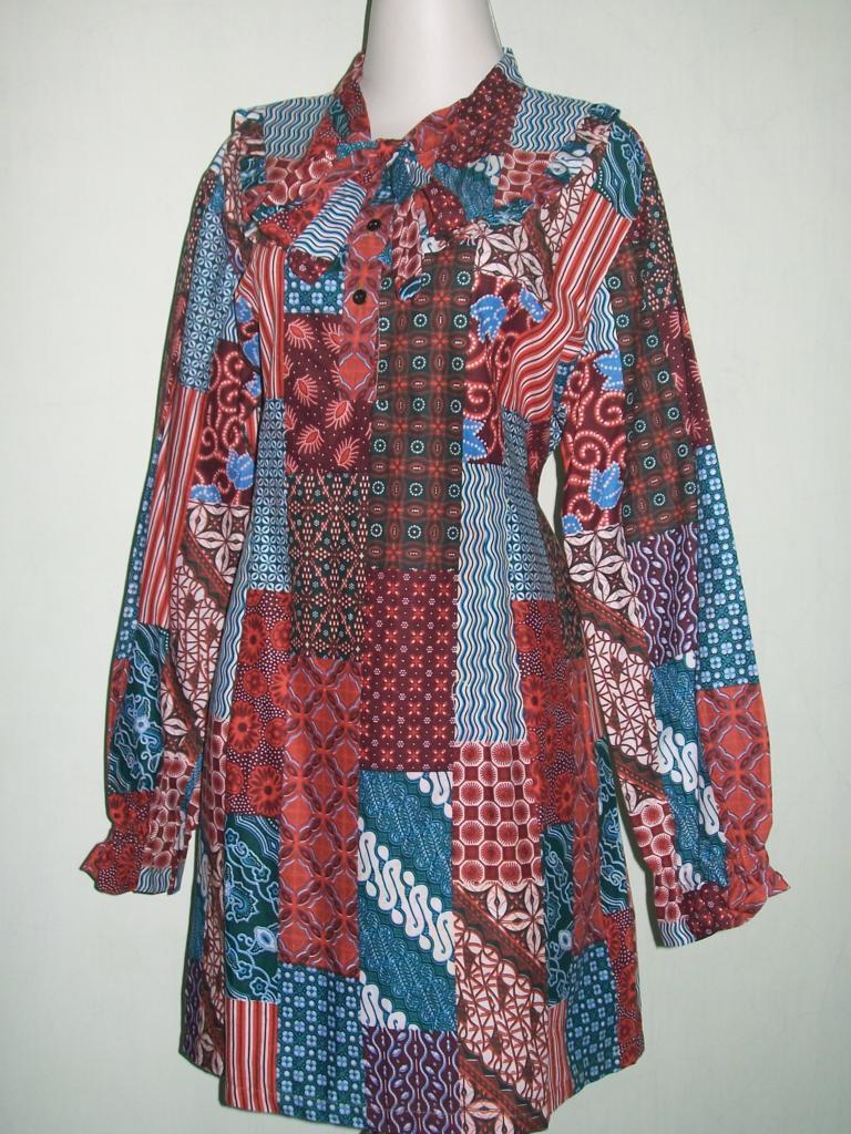 Blus Batik Printing Berkaret Belakang,Bahan Katun Untuk Busana Wanita