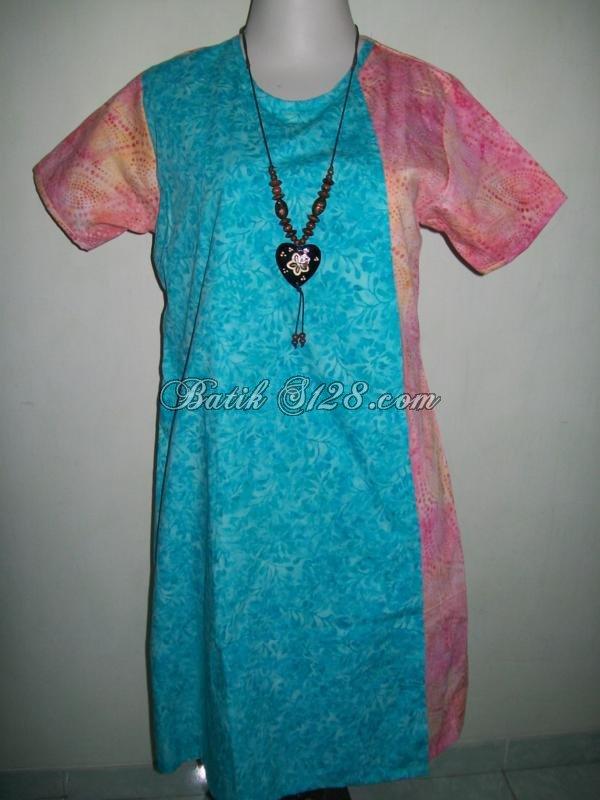 Jual Baju Dress Batik Dengan Dua Warna Yang Cerah Dan