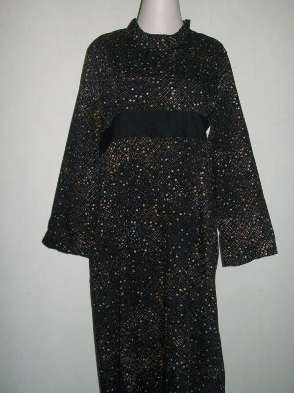 Gamis Batik Cap Bahan Katun Motif Abstrak [GM015], SOLD OUT