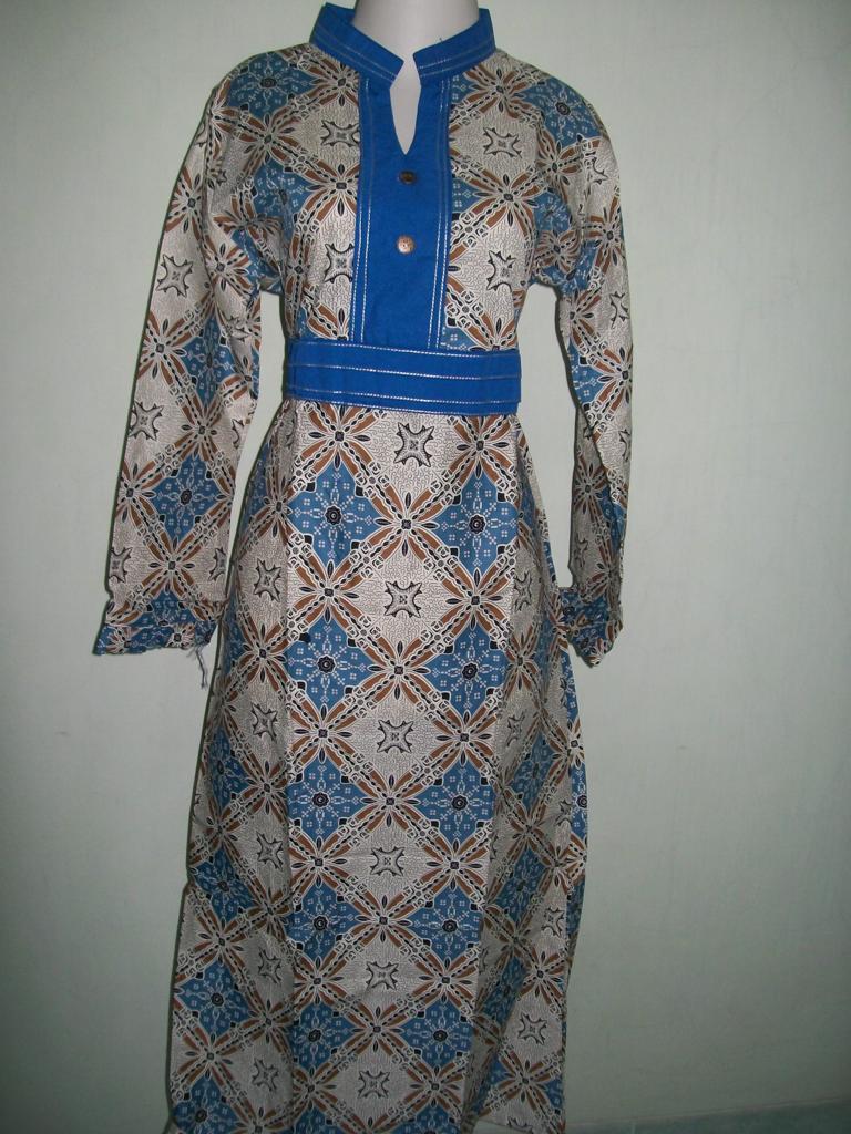 Model Gamis Batik Kombinasi Bahan Sifon Murah