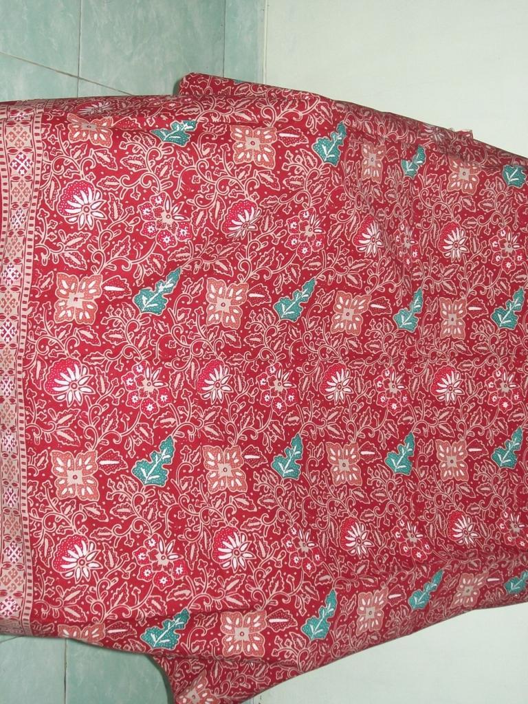 Motif Kain Batik Bunga Warna Merah, Batik Murah Solo [K177]