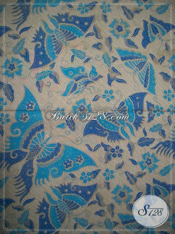 Bahan Batik Etnik Motif Kupu Warna Biru,Batik Cantik Untuk Wanita [KP570]
