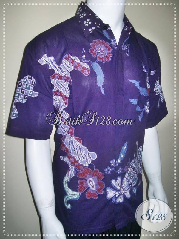 Baju Kemeja Batik Tulis Warna Biru Dongker Jual Online