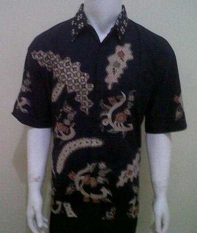 Kemeja Batik Tulis Warna Biru Dongker Murah [LD155T]