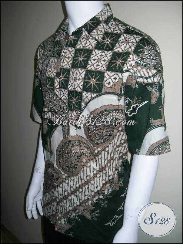 Kemeja Batik Eksklusif Elegan untuk Eksmud Eksekutif Muda, Warna Hijau [LD160T]